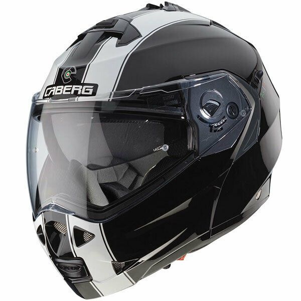 Caberg Duke II Legend Flip Front Motorcycle Motorbike - Black / White - Small